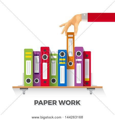 Vector Business Papers And Folders Concept In Flat Style