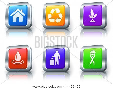 Nature Icons on Square Button with Metallic Rim Collection Original Illustration