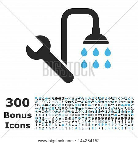 Plumbing icon with 300 bonus icons. Vector illustration style is flat iconic bicolor symbols, blue and gray colors, white background.