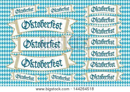 Oktoberfest Banners In Bavarian Colors Vector Set. Bavaria Festival White And Blue Oktoberfest Ribbo