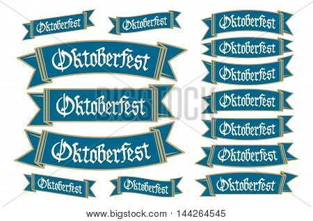 Oktoberfest Banners In Bavarian Colors Vector Set. Bavaria Festival White And Blue Oktoberfest Ribbo
