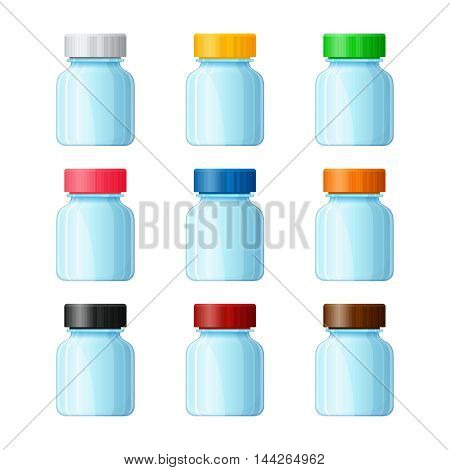 Set of vector medical bottles in flat style