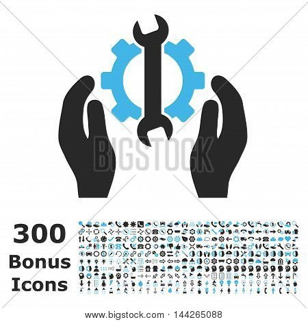 Repair Service icon with 300 bonus icons. Vector illustration style is flat iconic bicolor symbols, blue and gray colors, white background.