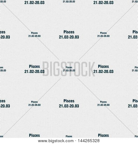 Pisces Zodiac Sign Sign. Seamless Pattern With Geometric Texture. Vector