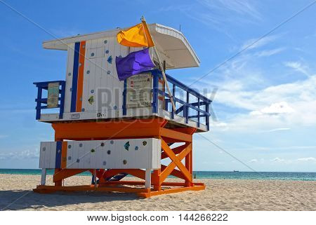 Beautiful view of Miami Beach lifeguard, USA.
