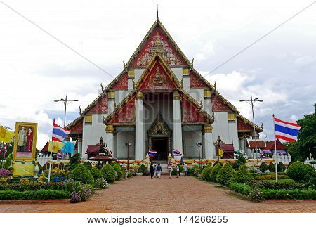AYUTTHAYA, THAILAND - JUNE 26, 2016: A beautiful view of Wat Mongkhon Bophit temple, Ayutthaya, THAILAND.