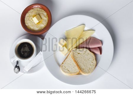 sausage, cheese, white bread, butter, cereal pot cafe breakfast set top