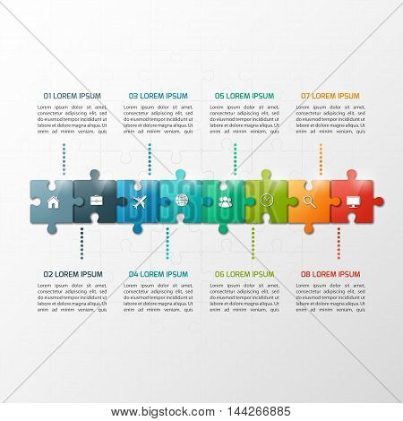 Vector 8 Steps Puzzle Style Timeline Infographic Template. Business Concept.