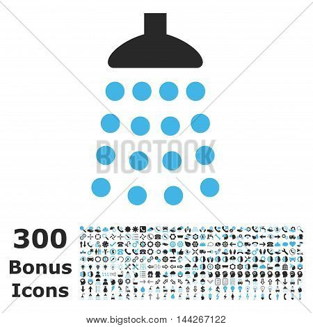 Shower icon with 300 bonus icons. Vector illustration style is flat iconic bicolor symbols, blue and gray colors, white background.