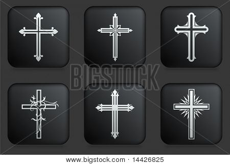 Cross Icons on Square Black Button Collection Original Illustration