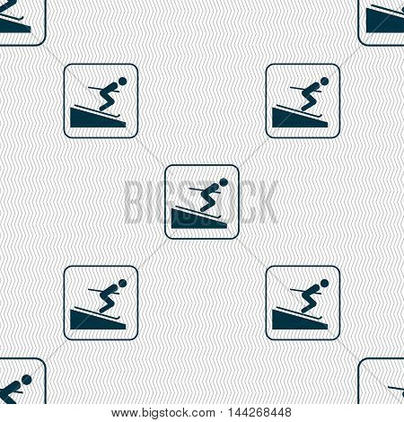 Skier Sign. Seamless Pattern With Geometric Texture. Vector