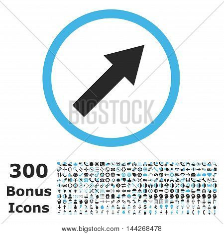 Up-Right Rounded Arrow icon with 300 bonus icons. Vector illustration style is flat iconic bicolor symbols, blue and gray colors, white background.