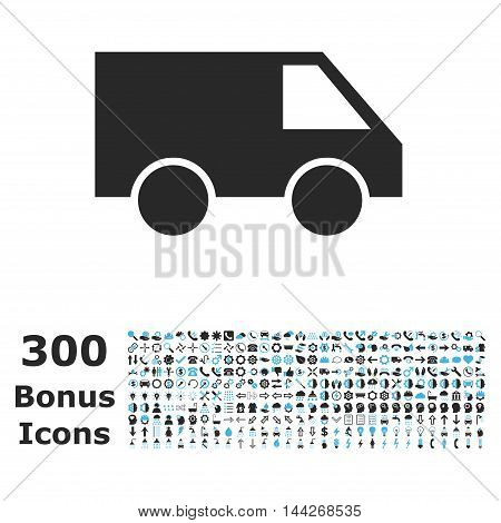Van icon with 300 bonus icons. Vector illustration style is flat iconic bicolor symbols, blue and gray colors, white background.
