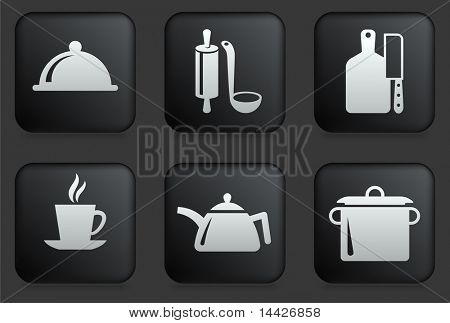 Food Preparation Icons on Square Black Button Collection Original Illustration