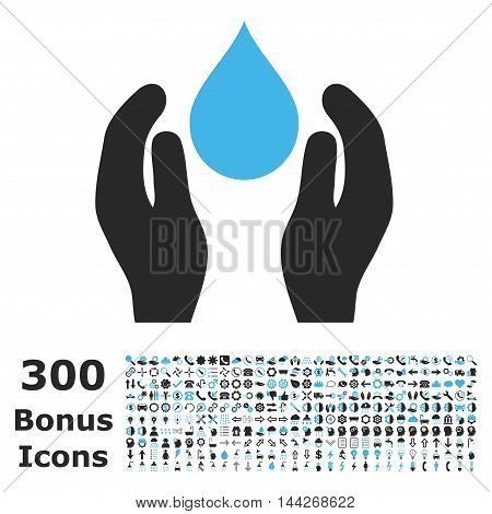 Water Care icon with 300 bonus icons. Vector illustration style is flat iconic bicolor symbols, blue and gray colors, white background.