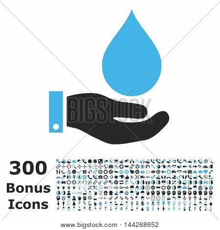 Water Service icon with 300 bonus icons. Vector illustration style is flat iconic bicolor symbols, blue and gray colors, white background.