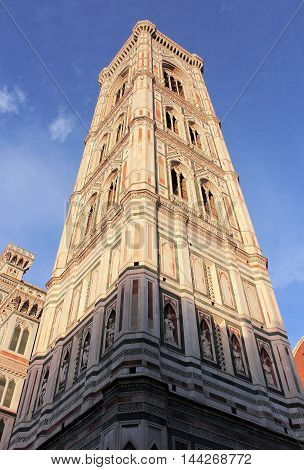Giotto's bell tower (campanile) of cathedral Santa Maria del Fiore (Duomo) , Florence, Tuscany, Italy