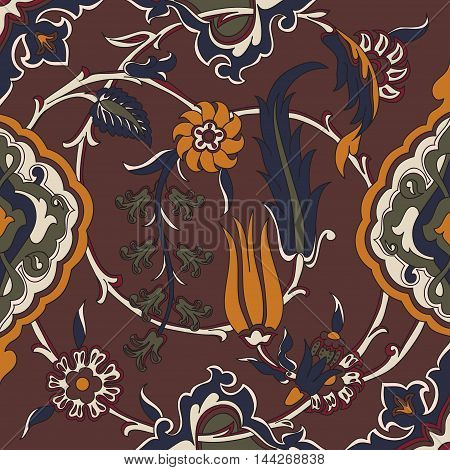 Vector tile oriental floral ethnic drawing arabic pattern floral ancient arabesque floral curled pattern tile