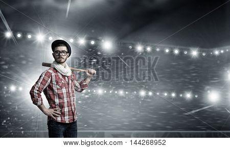 Young man with bat . Mixed media