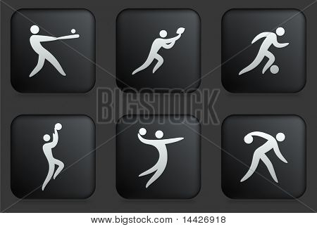 Athlete Icons on Square Black Button Collection Original Illustration