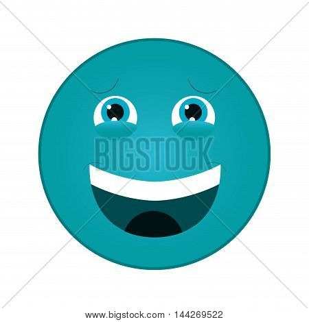 flat design laughing emoticon icon vector illustration