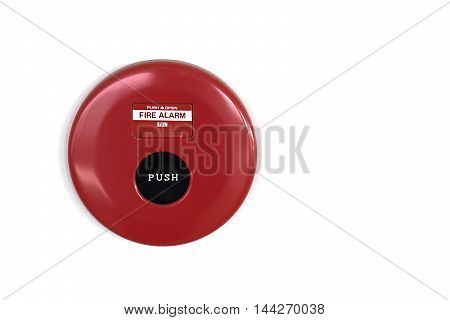 fire and smoke detect alarm button on white wall.