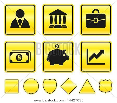 Economy Icons on Yellow Sign Button Collection Original Illustration
