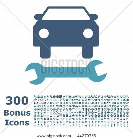 Car Repair icon with 300 bonus icons. Vector illustration style is flat iconic bicolor symbols, cyan and blue colors, white background.
