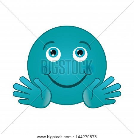 flat design happy smirk emoticon icon vector illustration