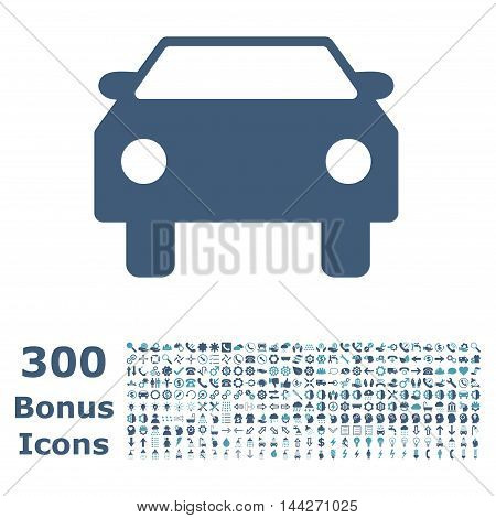Car icon with 300 bonus icons. Vector illustration style is flat iconic bicolor symbols, cyan and blue colors, white background.