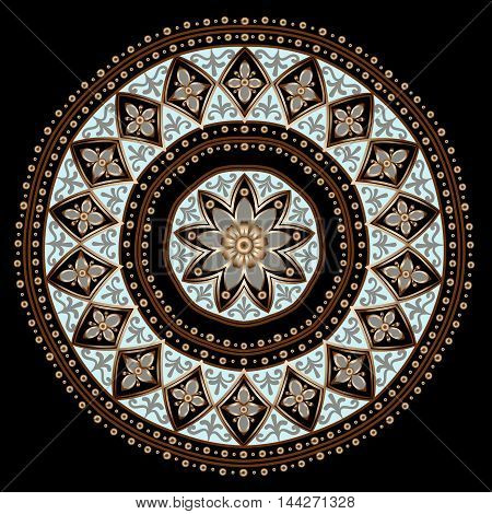 Drawing of a floral mandala in gold, gray and light turquoise colors on a black background