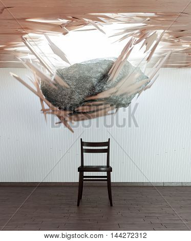 chair and falling stone conceptual 3d illustration