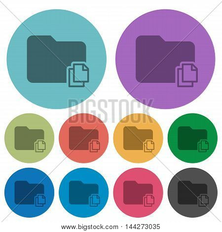 Color Copy folder flat icon set on round background.