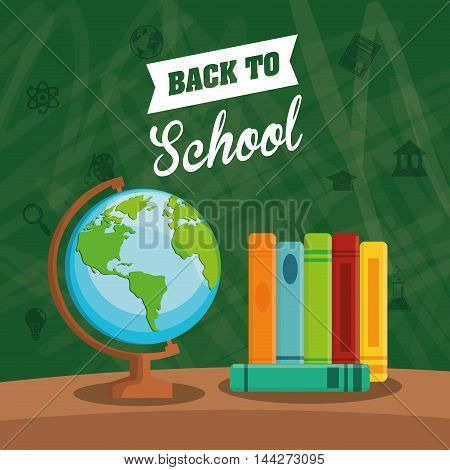 books planet sphere back to shool education  icon set. Colorful and grunge design. Vector illustration