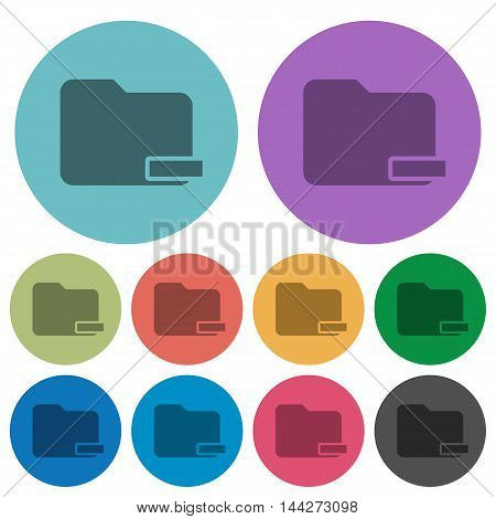 Color Remove folder flat icon set on round background.