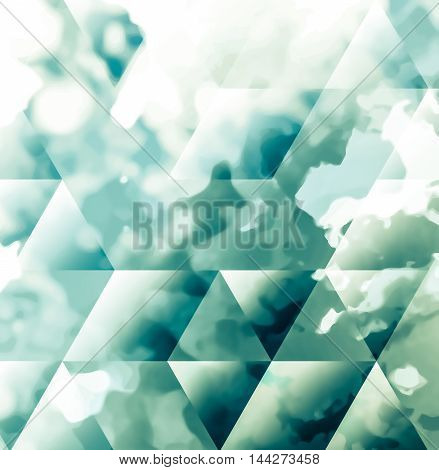 Abstract background texture with blue strokes of paint ang transparent triangular shapes. Stylish texture for use as a background. Abstract representations of blue sky, clouds or water.