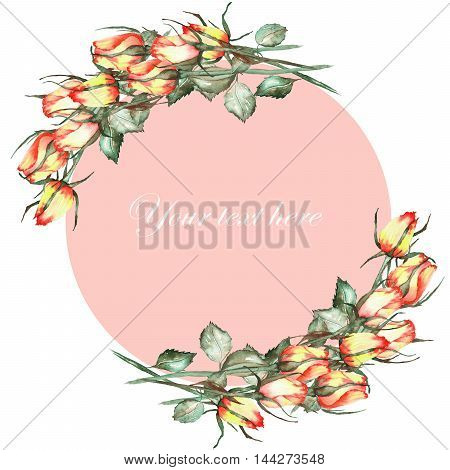 A decorative place (banner) with an ornament of the watercolor roses for a text on a tender pink background, a greeting card, a decoration postcard or invitation