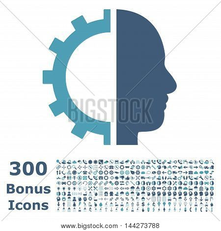 Cyborg Gear icon with 300 bonus icons. Vector illustration style is flat iconic bicolor symbols, cyan and blue colors, white background.