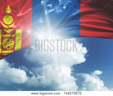 Mongolia flag on a beautiful day