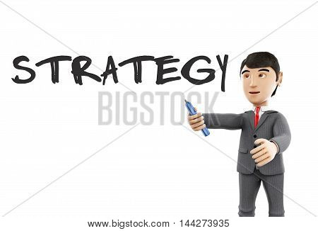 3d Illustration. Businessman with a marker and word strategy. Business concept. Isolated white background.