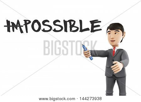 3d Illustration. Businessman with marker and word impossible turning into possible. Business concept. Isolated white background.