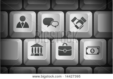 Financial Icons on Computer Keyboard Buttons Original Illustration