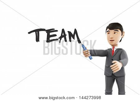 3d Illustration. Businessman with a marker and word team. Business concept. Isolated white background.