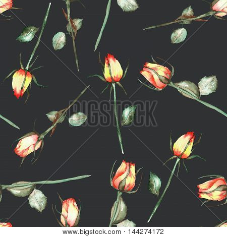 A seamless pattern with the watercolor beautiful red and yellow roses painted on a black background