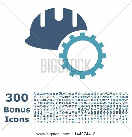 Development Hardhat icon with 300 bonus icons. Vector illustration style is flat iconic bicolor symbols, cyan and blue colors, white background.