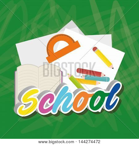 colors paper book back to shool education  icon set. Colorful and grunge design. Vector illustration