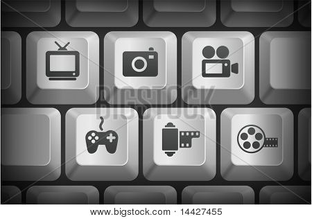 Media Icons on Computer Keyboard Buttons Original Illustration