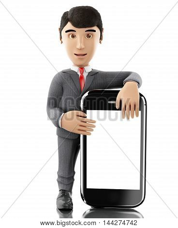 3d renderer image. Businessman standing with a smartphone. Business concept. Isolated white background.