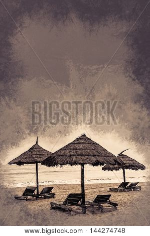 Minimalistic pgoto with straw umbrella on the beach with ocean and islands in the background. Vintage painting, background illustration, beautiful picture, travel texture