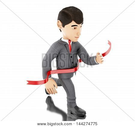 3d Illustration.Businessman crossing the finishing line. Success concept. Isolated white background.